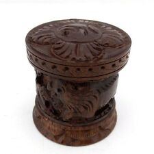 Trinket box teak wood carved lion antelope safari pill box stash container New