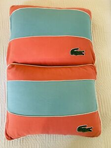 "Lacoste Home Block Stripe Cotton Decorative Pillow Set Adobe & Blue 20""x16"""