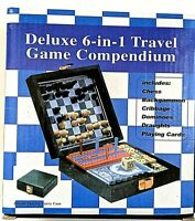 NEW DELUXE 6-IN-1 TRAVEL GAME COMPENDIUM - SIX GAMES IN ONE