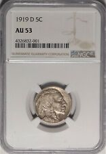 1919-D 5c NGC AU 53 Choice Almost Uncirculated Denver Mint Buffalo Nickel Coin