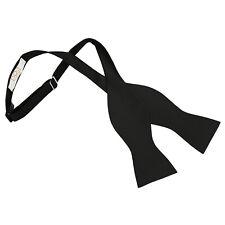 New DQT Solid Check Men's Wedding Self-Tie Bow Tie - Black