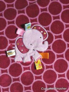 TAGGIES Purple Circle ELEPHANT Baby Girl Blanket Lovey 30x40 Dots Fleece Soft