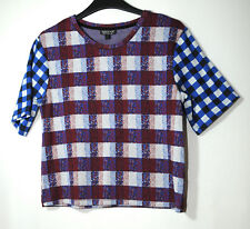BURGUNDY WHITE BLUE CHECK LADIES CASUAL TOP SIZE 8 TOPSHOP STRETCH