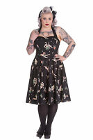 Hell Bunny Plus Size 50's Rockabilly Halter Hula Skull Lucinda Dress 2X 3X 4X