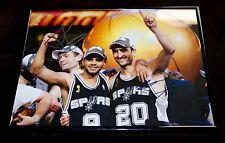 *NBA CHAMPIONSHIP* TONY PARKER & MANU GINOBILI Signed *SPURS* 11X14 Photo W/Coa