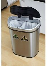 Automatic Trash Can Recycle Bin Combo Touchless Lid Stainless Steel 18.5-Gallon