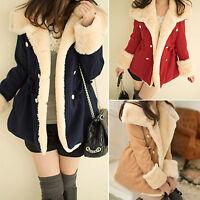 Warmer Damen Winter Langer Mantel Jacke Coat Mit Parka Winterjacke Fleece Tops