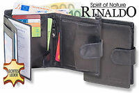 Rinaldo® Leder Geldbörse in Schwarz mit Außenriegel und Leder im Hartgeldfach