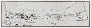 E0129 Lido Of Venice - 1932 Map Period - Vintage Map