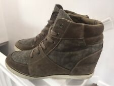 American Eagle Outfitters Womens Sneakers Gray Suede Wedge High Top Sz 10 Stud