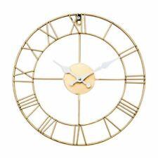 Shabby Chic Antique Gold Roman Skeleton Clock 34cm Diameter