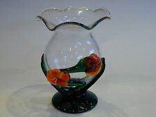 Caithness Clear Glass Vase with Applied Glass Flowers and Leaves