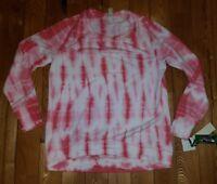 NEW Women's Baroque Rose GREEN TEA Tie Dye Yummy Fleece Top Size Small S