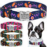 Nylon Personalised Dog Collar Engraved Custom ID Name Heavy Duty Collars S M L