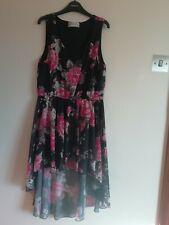 Ladies sleeveless black multi dress short at front long at back Voulez Vous 12