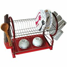Red Chrome Dish Drainer Rack Drip Dry Washing Up Plate Drying Tidy Stacking
