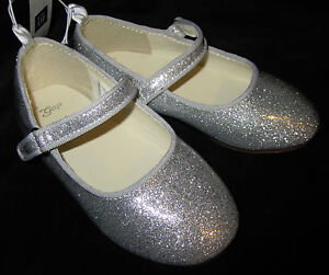 Baby Gap NWT Girls Silver Glitter Sparkle Mary Jane Shoes Toddler 6 7 8 9 $25