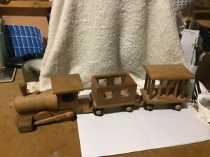 """WOODEN TRAIN ENGINE WITH CARRIAGES - 3pcs (4"""" x 17.5"""")"""