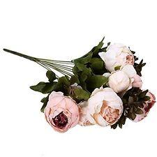 1 Bouquet 8 Head Artificial Peony Silk Flower Fake Leaf Home Wedding Party Decor