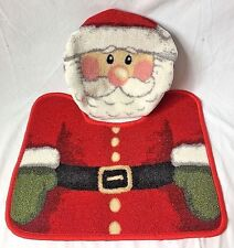 Santa Claus Toilet Seat Cover And Rug Bath Set For Christmas Fit Small Kid Size
