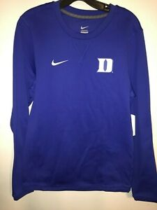 Nike Royal Blue Modern Long Sleeve Crew Neck DUKE BLUE DEVILS Shirt size Small