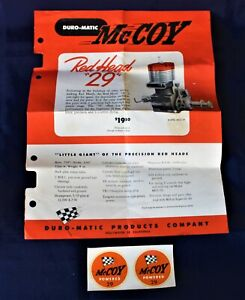 Vintage McCoy 29 Original Paperwork Documentation Brochure Decals Tether Car