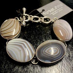 NWT Charles Albert Designer Fine 950 Sterling Botswana Agate Toggle Bracelet