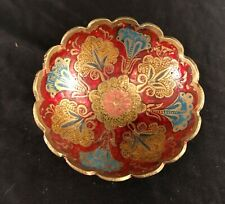 Brass Enameled Dish Cloisonné Footed Bowl With Scalloped Edges