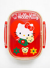 "VINTAGE 1976 1994 SANRIO HELLO KITTY Plastic Bento Lunch Box + Divider 3.5"" x 5"""