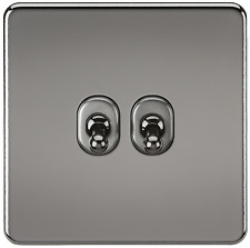 SCREWLESS 10A 2G GANG 2 WAY TOGGLE LIGHT SWITCH - BLACK NICKEL