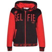 Enfants Filles Garçons Vestes # Selfie Brodé Rouge Top Zippé Capuche 5-13 Ans