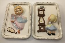 Vtg Pair Dancing Girl & Mouse Wall Hanging Plaque 3-D Relief Figurine Japan L9