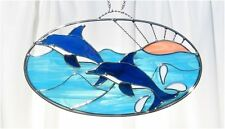 Stain Glass Dolphins on a Wire Oval Ring