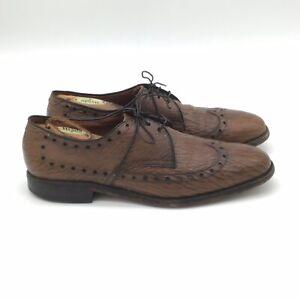 ALLEN EDMONDS Nassau Sharkskin Brown  wingtip oxford dress shoes 10 C