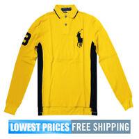 Polo Ralph Lauren Men's NWT Custom Fit Long Sleeve Yellow Polo Shirt Free Ship