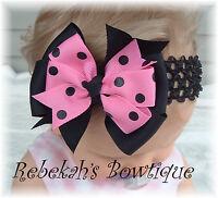 Hot Pink Black Dots Hair Bow Headband Bowband OR Clip Infant Toddler Girls Baby