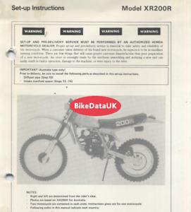 Honda XR200R (1981-1983) POSTER SIZE Genuine Set-Up Manual ME04 XR 200 R DD72