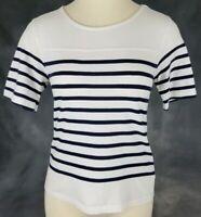 Gap Womens Size Small White Black Striped Short Sleeve Tshirt