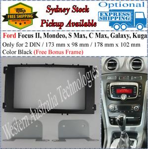 Fascia facia Ford Focus Mondeo Galaxy Kuga Black Double Two 2 DIN Dash Kit