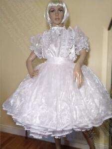 Sissy White Glitter Organza and Satin Dress
