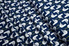Baumwoll Bio Jersey Möwen auf marine 0,5m