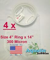 "4x Filter Sock 4"" Ring x 14"" 300 Micron Mesh Polyester HighQuality Aquarium Bag"