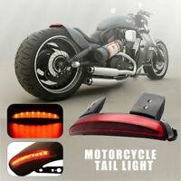 Custom Rear Chopped Fender Red LED Brake Stop Running Tail Light For Motorcycle