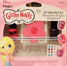 FING'RS GIRLIE* 24 CLEAR Glue-On Nails LIL' GLAM KIT Polish+Decals+Gems #32737