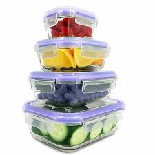 Set de Boites alimentaires en verre, Couvercle hermétique à 4-clic pour ALIMENTS