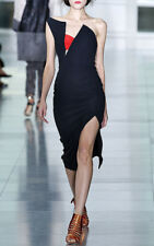 $3560  Antonio Berardi Black And Red One Shoulder Dress