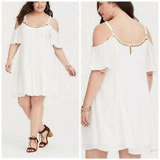 Torrid Women's Dress Ivory Gauze Trapeze Cold Shoulder Plus Size 4X
