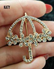 Gold Crystal Flower Umbrella BROOCH Pin Rhinestone Broach Badge Bouquet Diamante