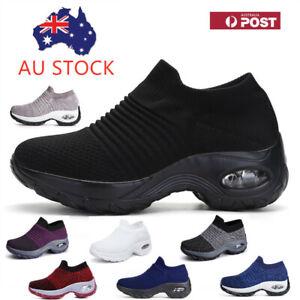 Women Sport Sneakers Air Cushion Slip on Walking Jogging Running Sock Shoes