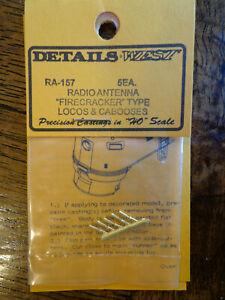 """Details West HO #157 Radio Antenna's """"Firecracker"""" Type Loco & Caboose (Brass)"""